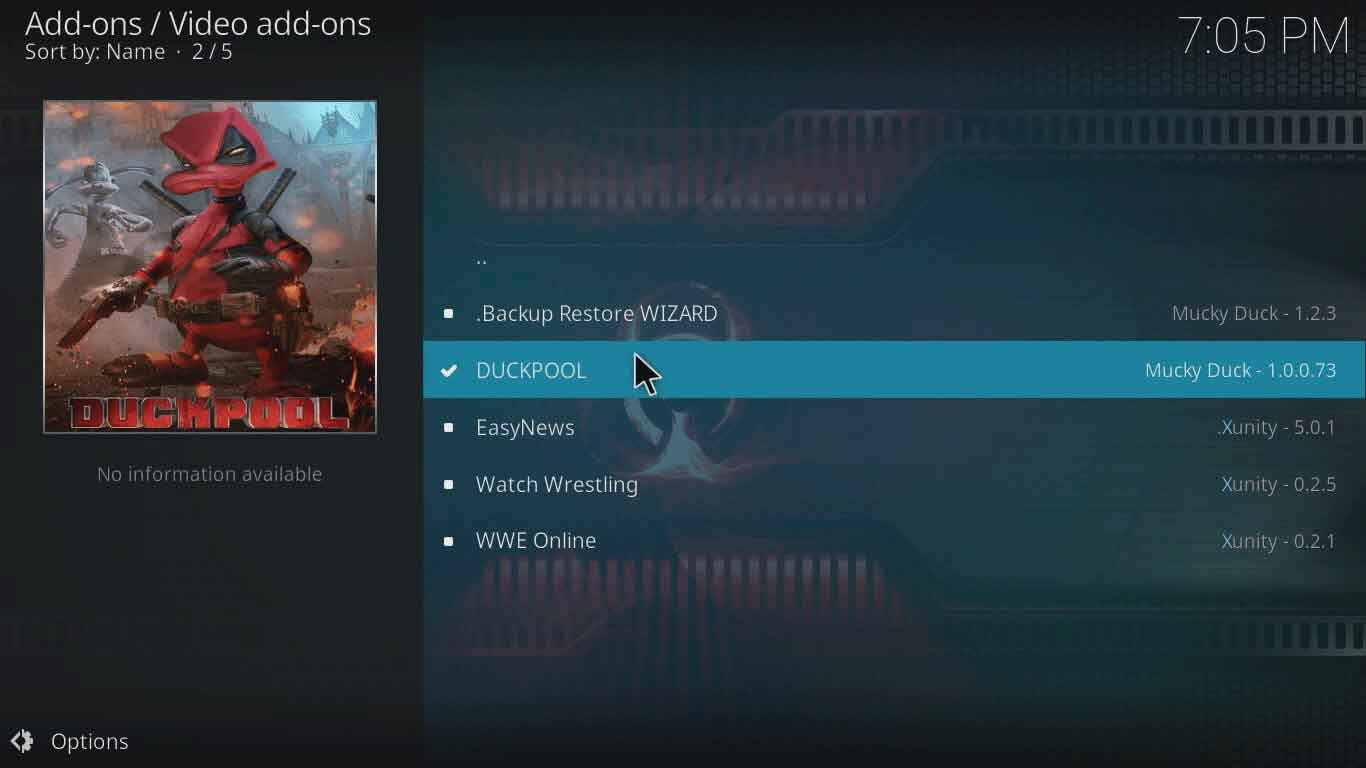 isti duckpool on kodi xbmc